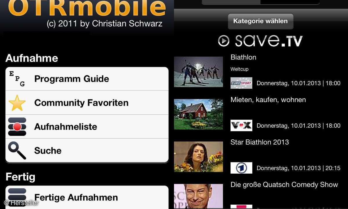 SaveTV auf iPad