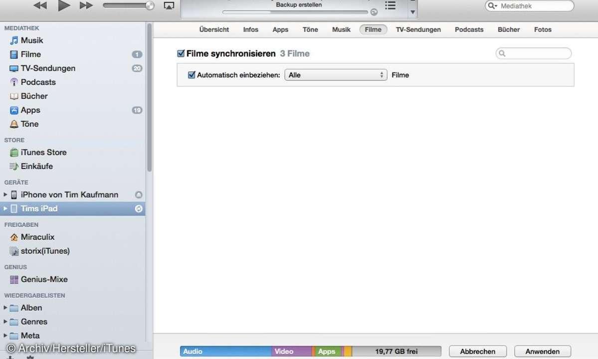 Auf iTunes Filme synchronisieren