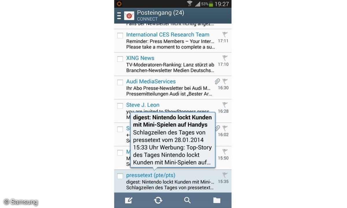 Samsung Galaxy S4 AirView E-Mail Vorschau