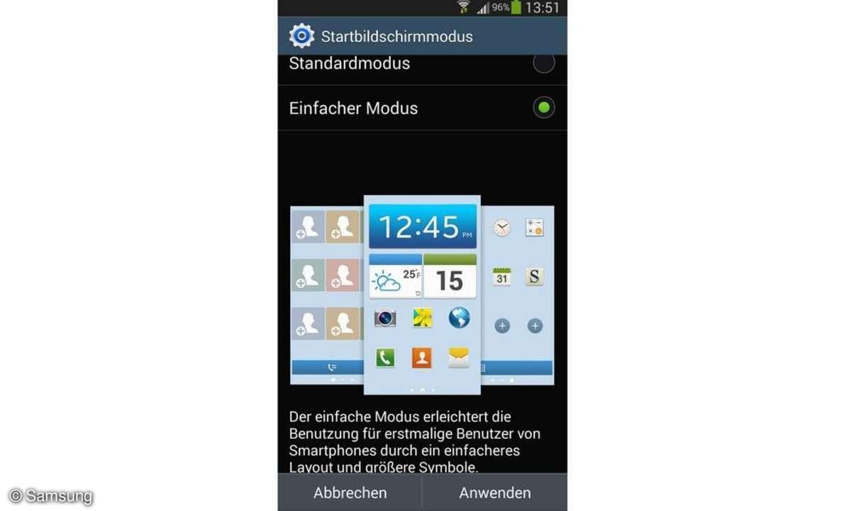 Samsung Galaxy S4 Einfacher Modus