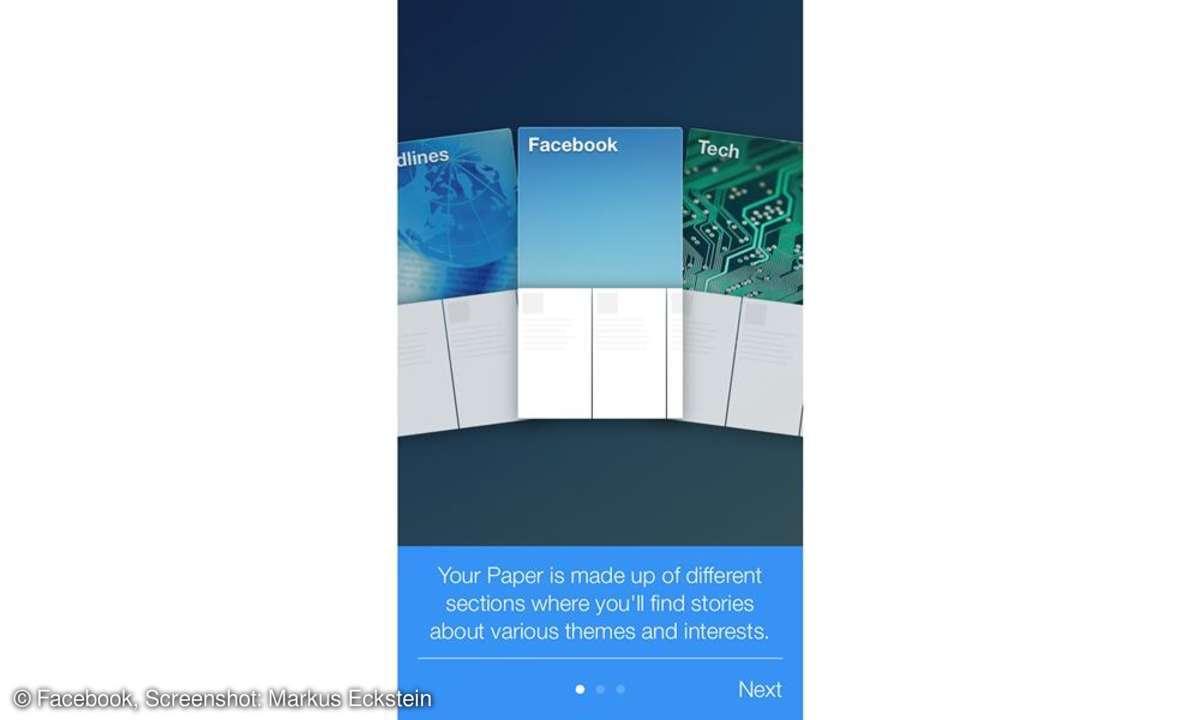 Facebook Paper, Screenshot