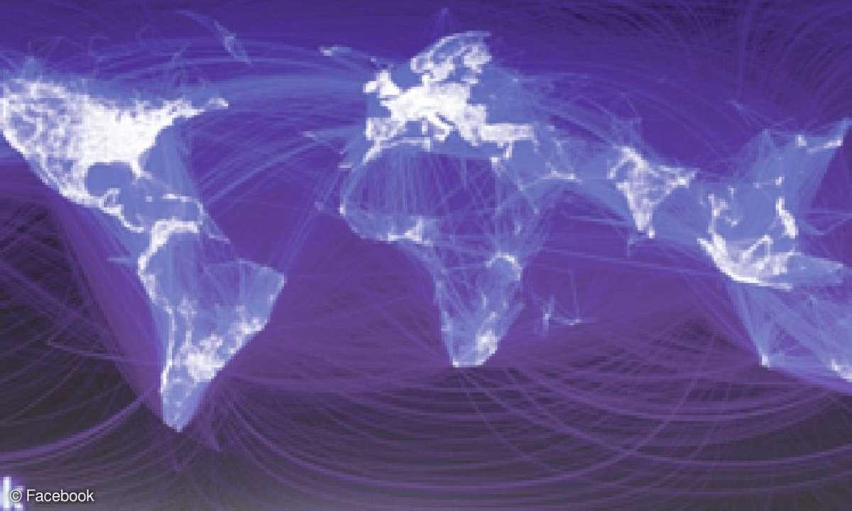 Die Weltkarte von Facebook, in der alle Freundschaftsbeziehungen visualisiert sind. Die Grafik zeigt anschaulich, wie tiefgreifend soziale Netzwerke unser Leben mittlerweile beeinflussen.