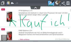 LG Optimus L7 2 - Quick Memo